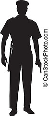 A silhouette of a male police officer holding a gun
