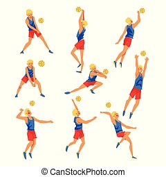 Male Volleyball Player Playing witn Ball Set, Professional Sportsman Character Wearing Sports Uniform Vector Illustration