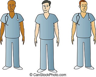 Three male medical professionalswearing typical blue hospital scrubs.