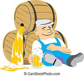A man rests on a barrel of beer