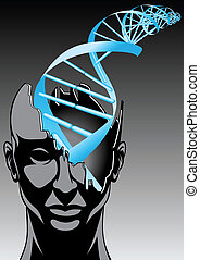 man and DNA spiral - future of biology technologies (abstract design)