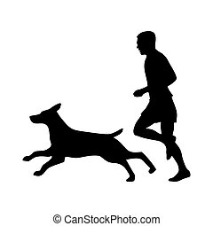 Man and shepherd run. Dog and people silhouette. Vector icon