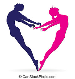 Man and woman body silhouette in he