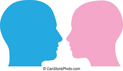 Man and woman heads facing each other in profile silhouette