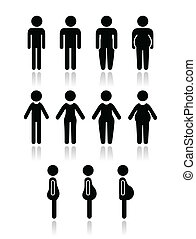 Male and female body types - lose weight, fitness, healthy lifestyle concept