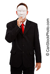 Business man covering his face with blank mask
