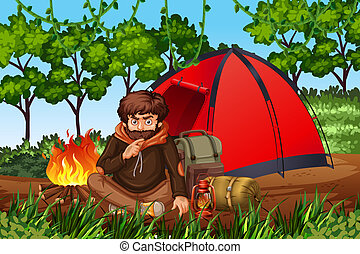 Man camping in the woods