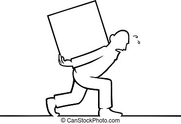 Black line art illustration of a man carrying a heavy box.