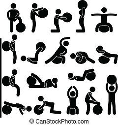 Man Gym Fitness Ball Training