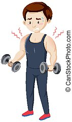 Man having muscle pain from workout illustration