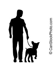 Man holding leash with french bulldog. Vector black flat icon