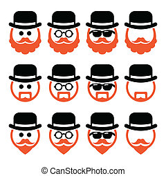 Senior, gentleman with ginger beard and glasses icons isolated on white