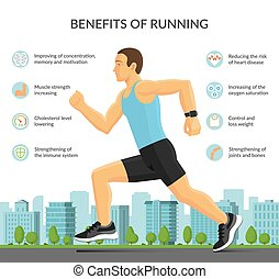 Man jogging outdoors. Benefits of running infographic concept with sport fitness icons. Vector illustration