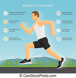 Man jogging outdoors vector illustration. Benefits of running infographic concept with sport fitness icons. Vector illustration
