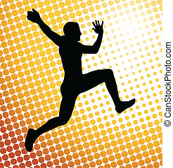 Man jump on the abstract background - vector