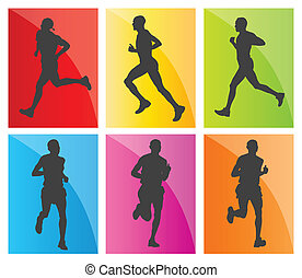 Man marathon runners silhouettes vector set