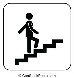 Man on Stairs going up symbol