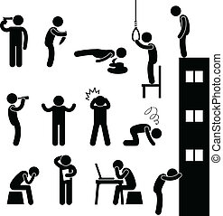 A set of human figure showing desperation and suicidal attempt.