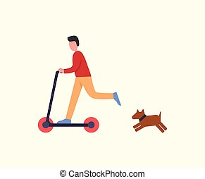 Man Riding Scooter Pet Dog Following Owner Running