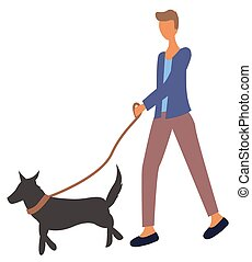 Man Walking with Dog on Leash Isolated Character
