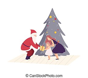 Man Wearing Santa Claus Costume Giving Gift Box to Little Girl Vector Illustration