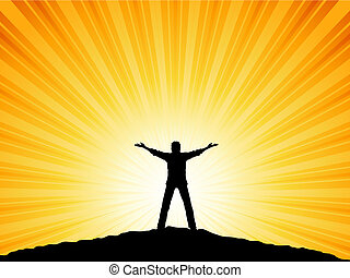 Silhouette of a man with his arms raised to the sky