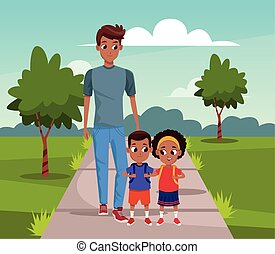 Man with boy and girl walking in the park
