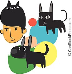 Man with dog and cat cartoon character