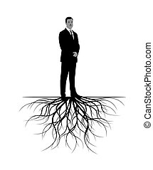 Man with Roots. Vector Illustration.
