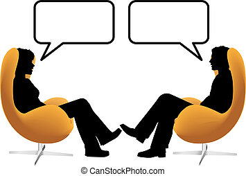 A man woman couple sit in egg chairs facing each other and talk