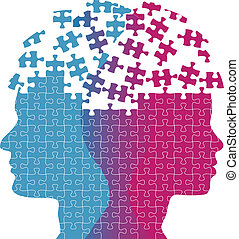Heads of a woman and man symbol of couple love thought puzzle