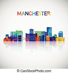 Manchester, New Hampshire skyline silhouette