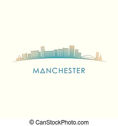Manchester, New Hampshire skyline silhouette.