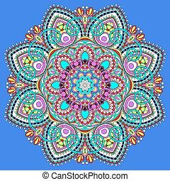 mandala, circle decorative spiritual indian symbol of lotus flower, round ornament pattern, vector illustration