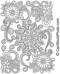 Mandala flower coloring book for adults vector illustration. Anti-stress coloring for adult. Zentangle style. Black and white lines. Lace pattern