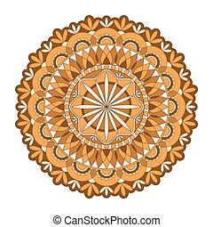 Mandala vector. A symmetrical round orange ornament.