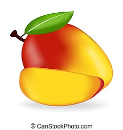 mango isolated on white background as package design composition.