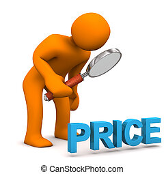 Orange cartoon character with loupe text Price.