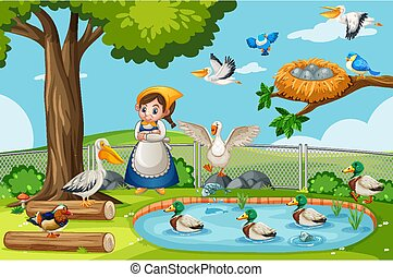 Many birds in the nature park scene with gardener girl