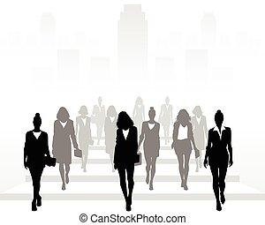 Vector illustration of many businesswomen going forward