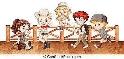 Many kids on the wooden bridge