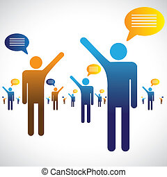 Many people talking, speaking or chatting graphic. The illustration shows many people symbols with chat icons speaking with one an other
