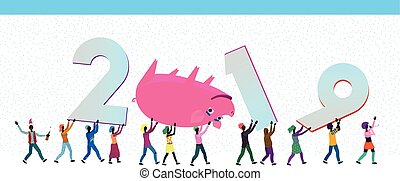 many small people bringing huge pig and numbers