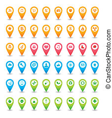 An solated map icon pointer set