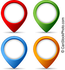Map markers isolated on white