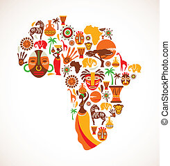 Africa icons, vector illustration