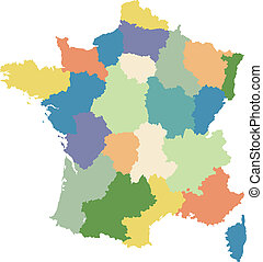 Map of France divided into regions