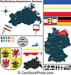 Vector map of state Mecklenburg-Vorpommern with coat of arms and location on Germany map