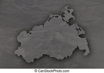 Map of Mecklenburg-Vorpommern on dark slate