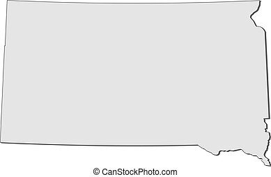 Map of South Dakota (United States)